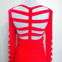 red bandage knit long sleeves top (1990s Vintage)