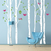 Vinyl Wall Decal  - Birch Trees and Birds - Extra Large Wall Mural
