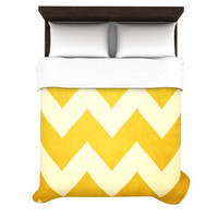 "Catherine McDonald ""1932"" YELLOW Chevron Duvet Cover 