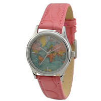 Ladies Vintage Map Watch (World 2) with stripes