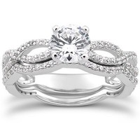 SALE 1.00 Ct Round Diamond Vintage Curve Engagement Pave Engagement Wedding Ring