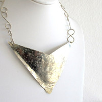 Hammered silver bib, artisan silver tone collar, large triangle necklace