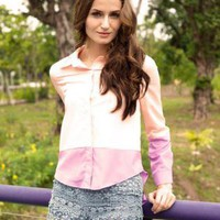 Cream and Light Purple Button Up Blouse