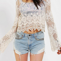 Staring At Stars Crochet Bell Sleeve Top