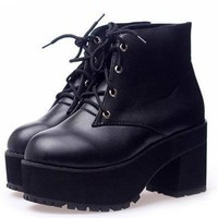 2012 Womens Black Punk Gothic Lace Up Chunky Heels High Platform Ankle Boot shoe