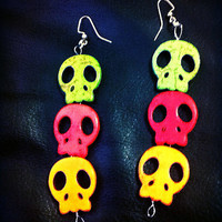 Spooky skull howlite earrings. Lime green, hot pink, & orange skull dangle earrings