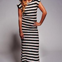 Black and White Knit Maxi Dress