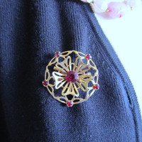 Red flower brooch, vintage 1950 pin, vintage jewelry