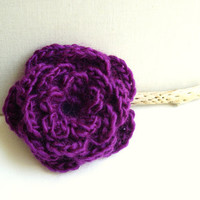 Crocheted Flower Pin in Plum - Big crocheted Ros flower - Fantasy Brooch - Romantic gift Idea - Wedding accessory - Ready to Ship