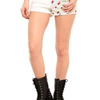 LOVEsick Cherry Skull Split Leg Cut-Off Shorts | Hot Topic