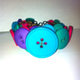 chunky bright muticolored button cuff bracelet, pink,blue,purple,green
