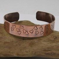 Hand Stamped Copper Cuff Bracelet with Hearts