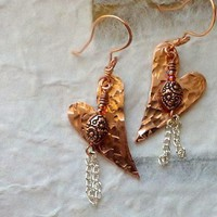 Hammered Copper Heart Earrings/Copper Bead and Silver Chain Dangle