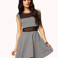 Striped & Mesh Skater Dress