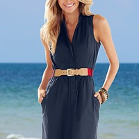 Navy Sleeveless shirt dress  from VENUS