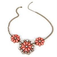 SALE-Burnt GoldCoral Flower Trio Necklace