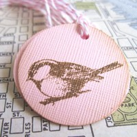 12 Vintage Inspired Chickadee Bird Favor Tags T063