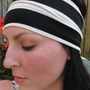 Black and White Stripe Stretchy Headband, Wide Jersey Headwrap