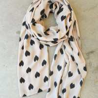 Sketched Hearts Scarf in Taupe [3325] - $16.00 : Vintage Inspired Clothing & Affordable Summer Frocks, deloom | Modern. Vintage. Crafted.
