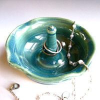 Green Ceramic Ring Holder - Ring Bearer Bowl