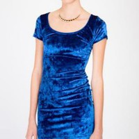 Bright Blue Velvet Minidress