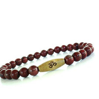 Om Mala Bracelet Yoga Jewelry Red Jasper by BohemianEarthDesigns