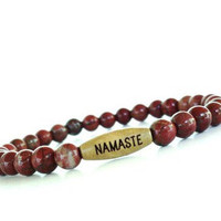 Namaste Mala Bracelet Yoga Jewelry Red Jasper Beaded Stretch Bohemian Spiritual Unique Gift For Her Under 20 Item S47