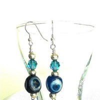 Antique Handmade Glass Persian Eye Beads, Crystal, Sterling Earrings