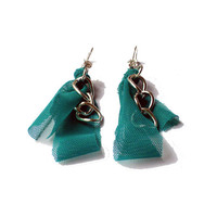 Fabric earrings  Emerald green fabric dangle  with strass and chain for her - one of a kind - OOAK