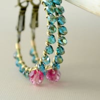 NEW Hoop Earrings, Antiqued Brass and Gold, Wire Wrapped, Dark Aqua Teal and Raspberry Pink, Glass Beaded Jewelry