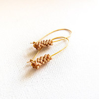 Ears of golden wheat Chic long earrings minimalist fashion  jewelry. Mothers day  gift idea.