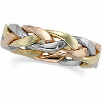 Genuine IceCarats Designer Jewelry Gift 14K Yellow/White/Rose Gold Wedding Band Ring Ring. Size 12 Tri Color Hand Woven Band In 14K Yellow/White/Rosegold Size 12