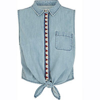 Light wash Chelsea Girl cropped denim shirt - blouses / shirts - tops - women