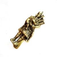 Brass Metal Scottish Bagpiper Door Knocker Fixture