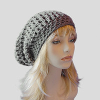 Slouchy Beanie Hat, Grey Toque from Midwest Crochet