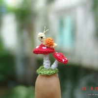 micro crochet snail and mushrooms