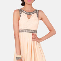 TFNC Bea Beige Beaded Dress