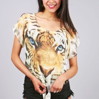 Tiger Stare Blouse | Cute Tops at Pink Ice