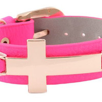 Buckle Bracelet with Gold Cross -Available in Pink, Brown, and Black
