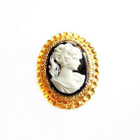 Gold / Black and White Plastic Cameo Pin / Brooch
