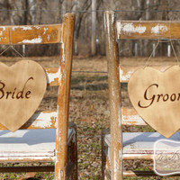 Rustic Wedding Bride and Groom Chair Signs -seating signs - chair back signs - photo props - wedding signs