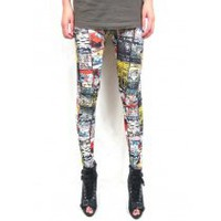 New Lucky Cat Graffiti High Stretch Leggings Pants LSJR109