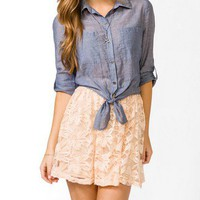 Self-Tie Chambray Shirt