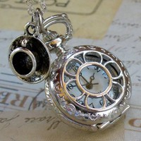 Alice in Wonderland Tea Party Steampunk pocket watch necklace pw1:Amazon:Everything Else