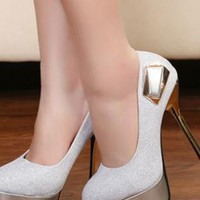 Ladies Fashion High Stiletto Heel Shimmer Evening Shoes