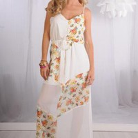 White Floral Print Sheer Chiffon Maxi Dress with V-Neckline