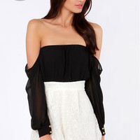 LULUS Exclusive I Love Lacy Black and Ivory Lace Romper