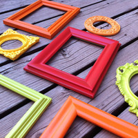 Empty Scatter Frame Collection Set, Bright and Chic, Upcycled Home Decor, Funky Vintage, Lime, Orange