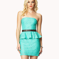 Strapless Lace Peplum Dress