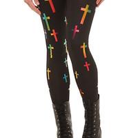 Rainbow Foil Crosses Leggings | Hot Topic